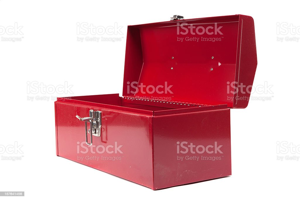 Open red dusty toolbox stock photo