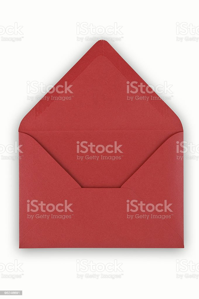 Open red envelope on white background. stock photo