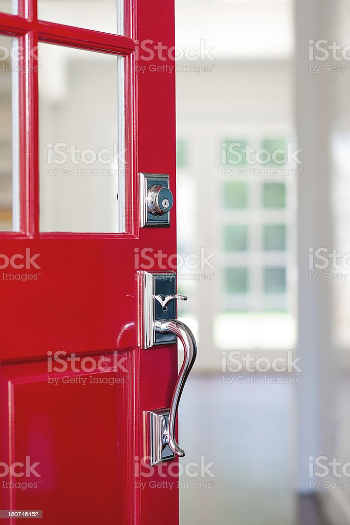 Open Red Front Door stock photo