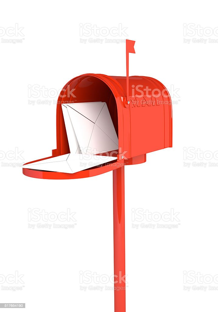 Open red mailbox with letters on white background.3D illustration stock photo