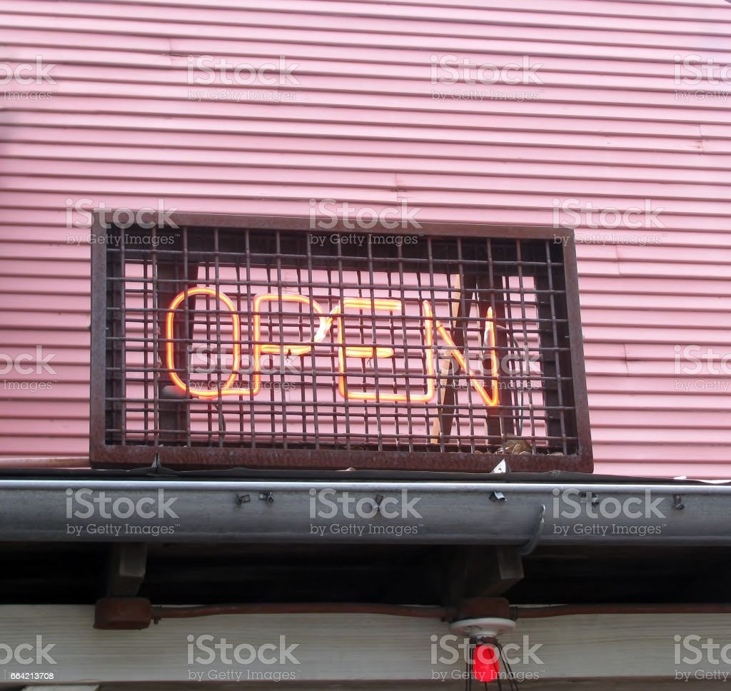 Open red neon light sign stock photo