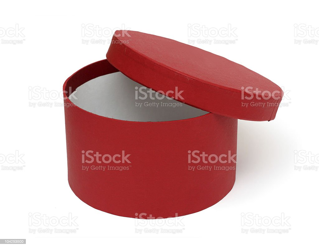 open red round box stock photo