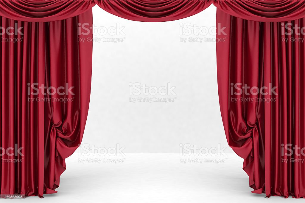Open red theater curtain stock photo