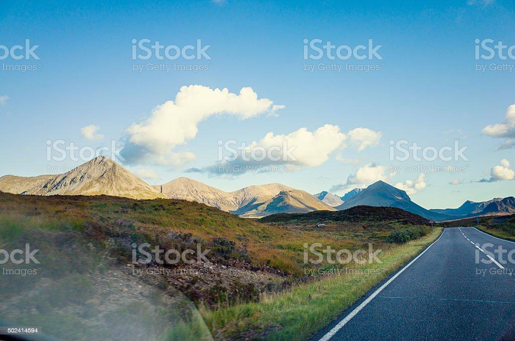 Open Road and Mountains, Skye, Scotland stock photo