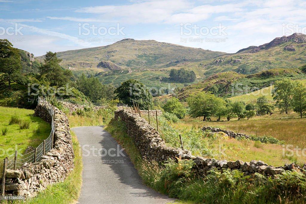 Open Road at Watendlath; Lake District stock photo
