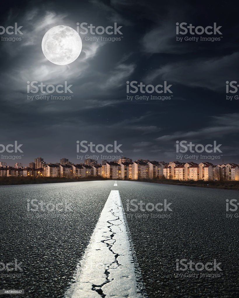 Open road. Entry into the city stock photo