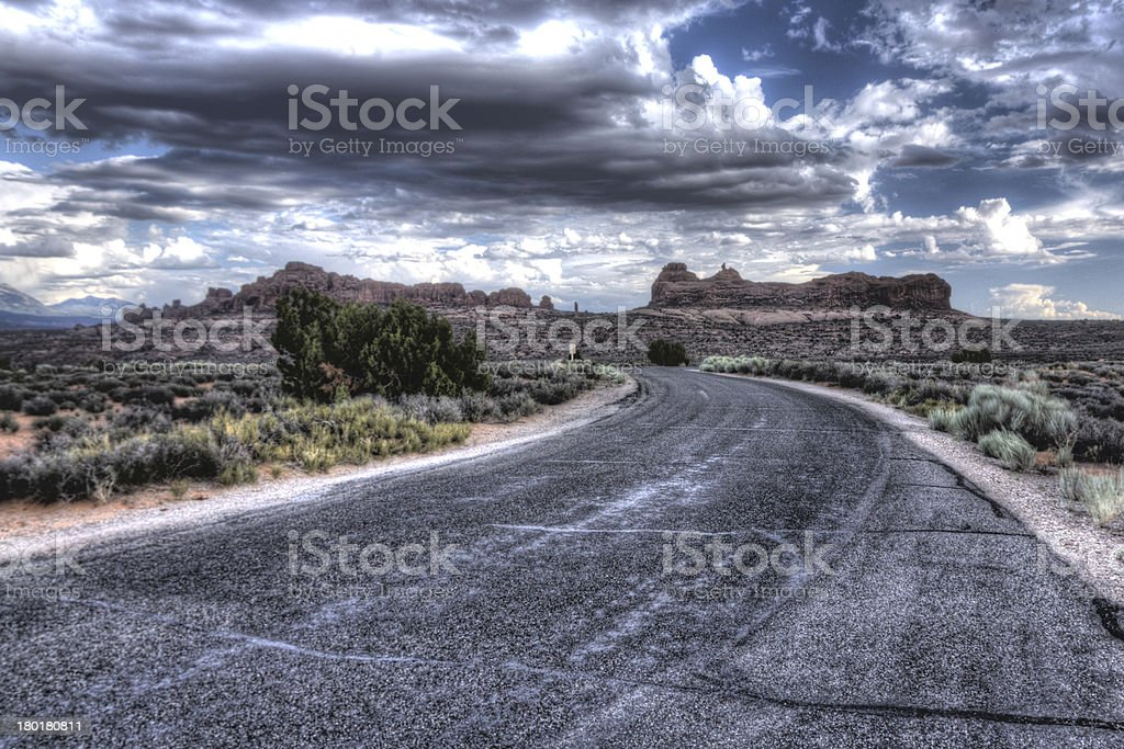 Open road & gathering storm royalty-free stock photo
