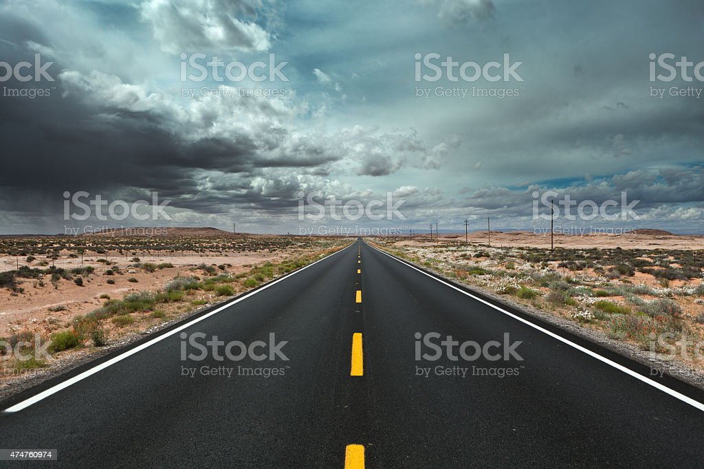 Open Road Highway in American Southwest with Stormy Sky stock photo