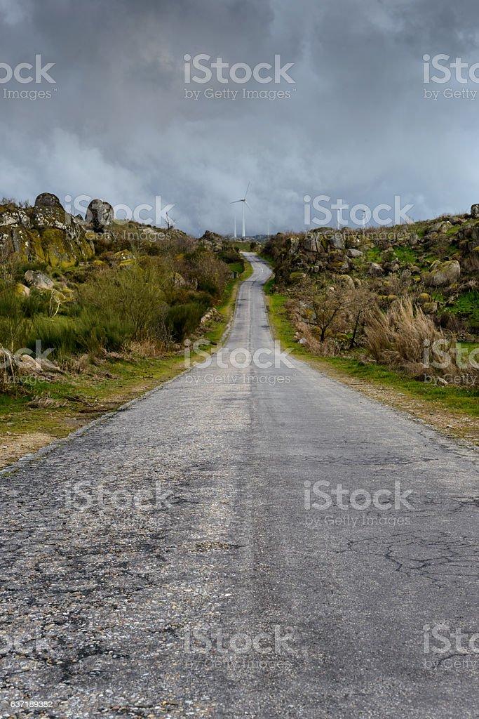 Open road in Serra da Gralheira, Viseu, Portugal stock photo