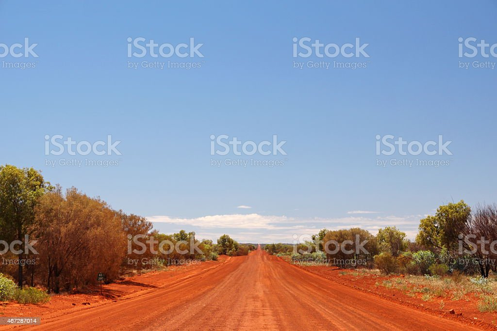 Open road in the Australian outback stock photo