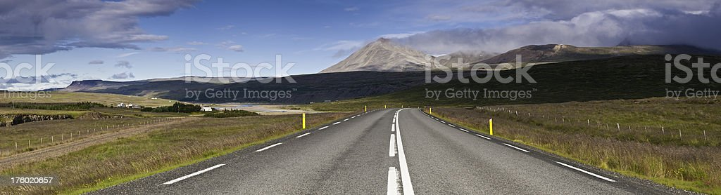 Open road mountain cloudscape panorama Iceland royalty-free stock photo