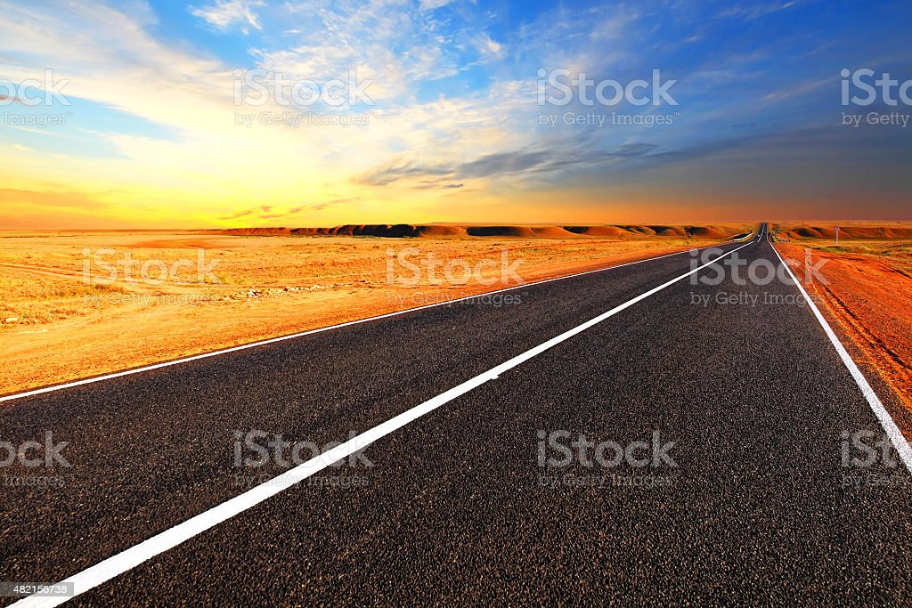 Open road. The autobahn in the desert. stock photo