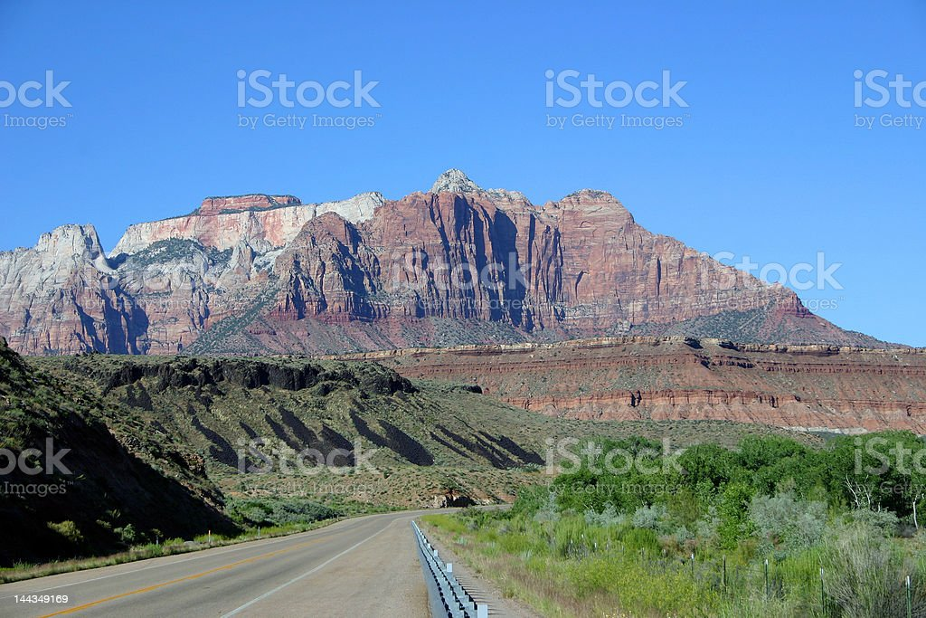 Open Road to Zion National Park - Background royalty-free stock photo