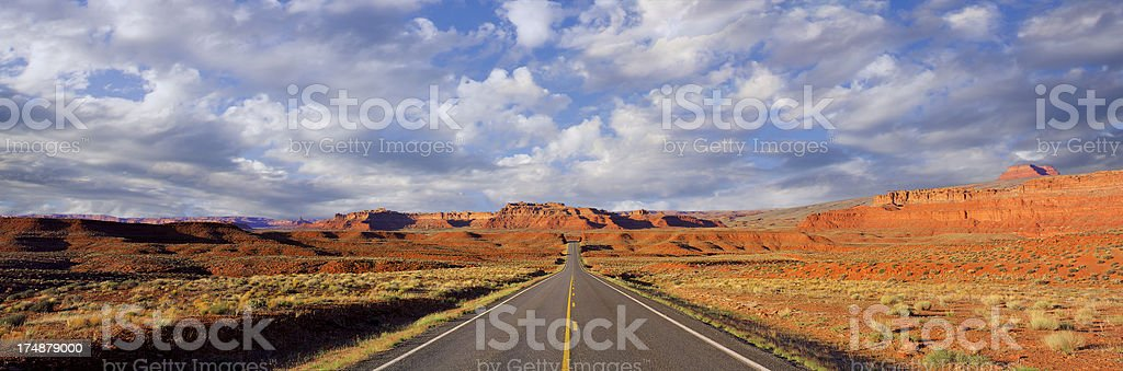 Open road with mountains behind in Arizona, USA royalty-free stock photo