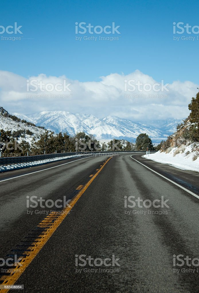 Open road with snow stock photo
