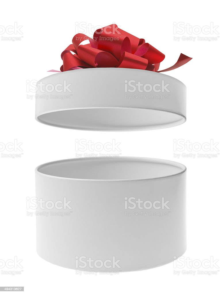 Open round gift box with red ribbon bow stock photo