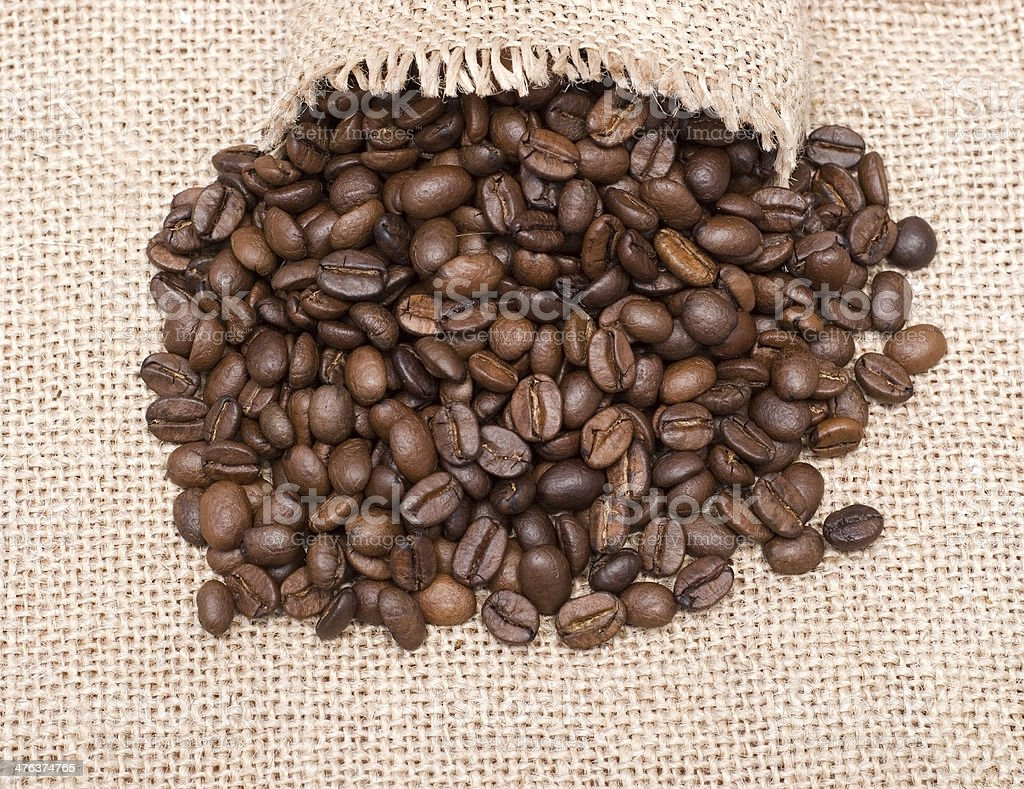 open sack and coffee beans royalty-free stock photo