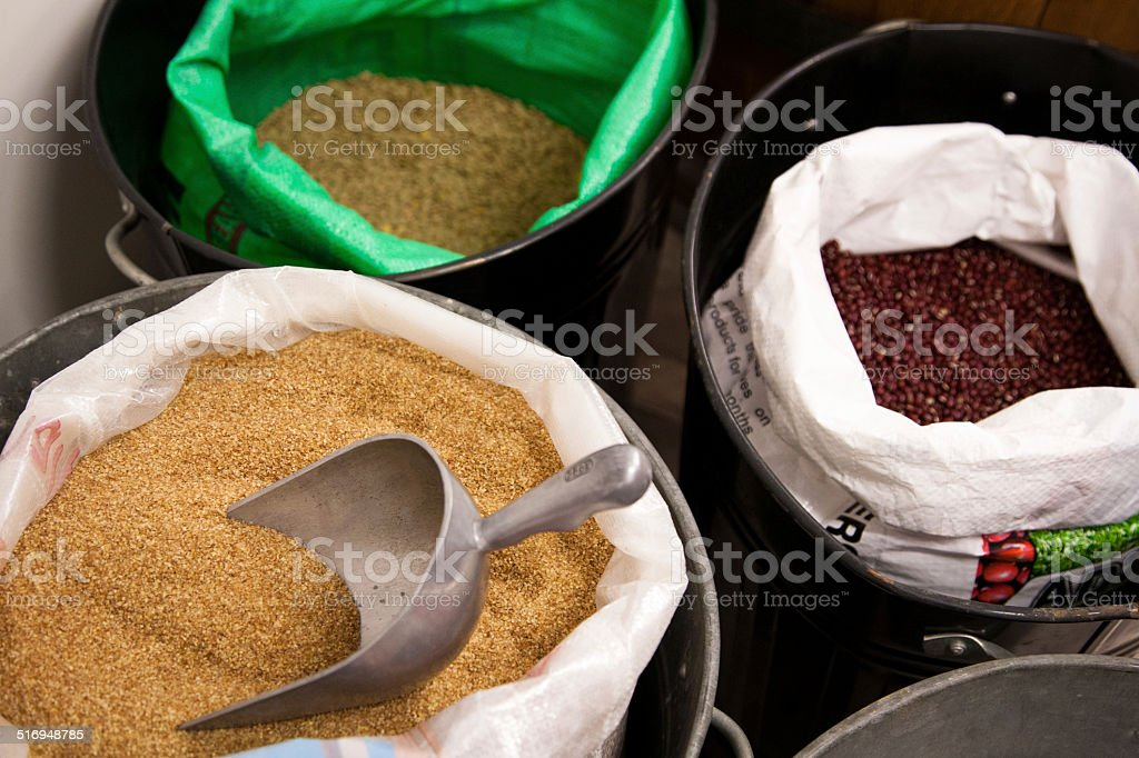 Open sacks of grain stock photo