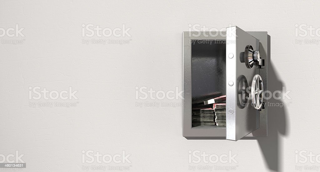 Open Safe On Wall With British Pounds royalty-free stock photo