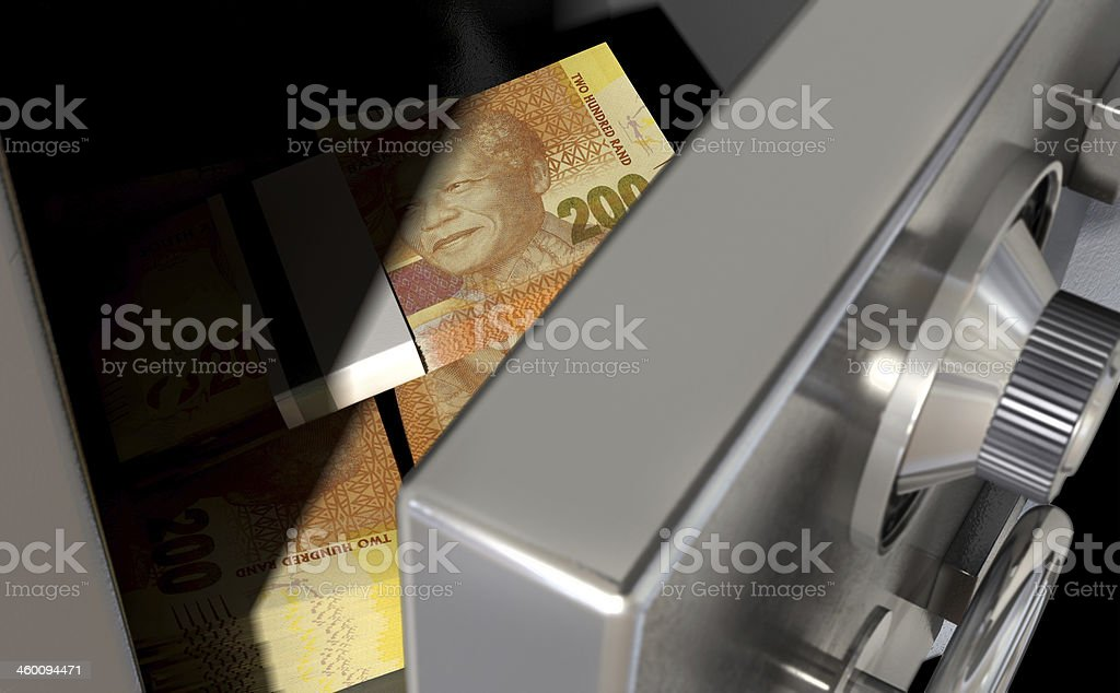 Open Safe With South African Rands stock photo
