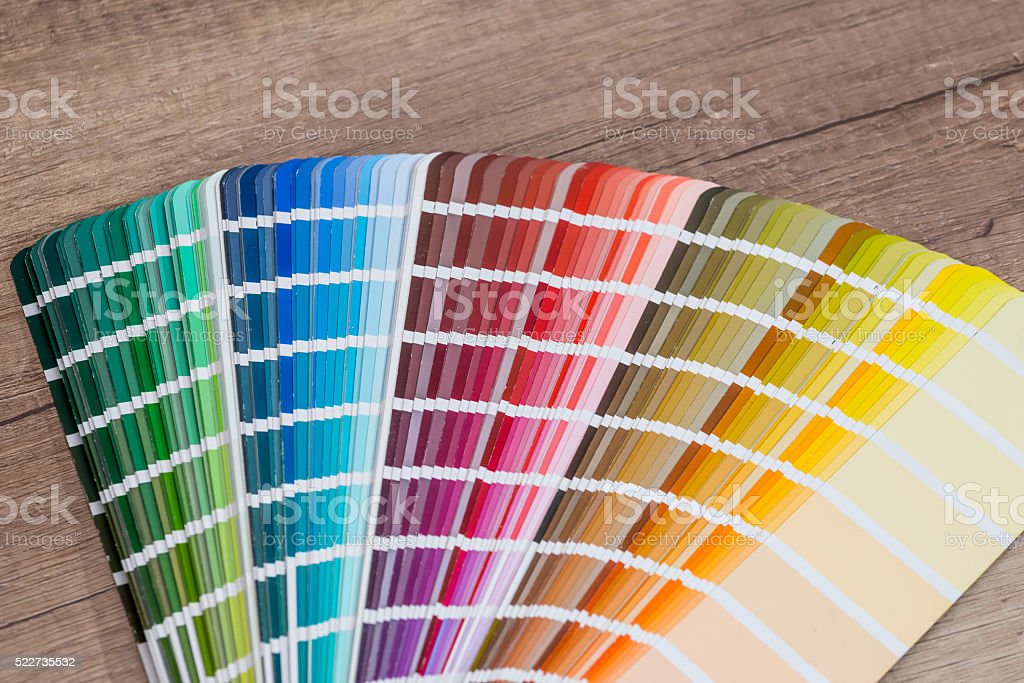 open sample colors catalogue stock photo