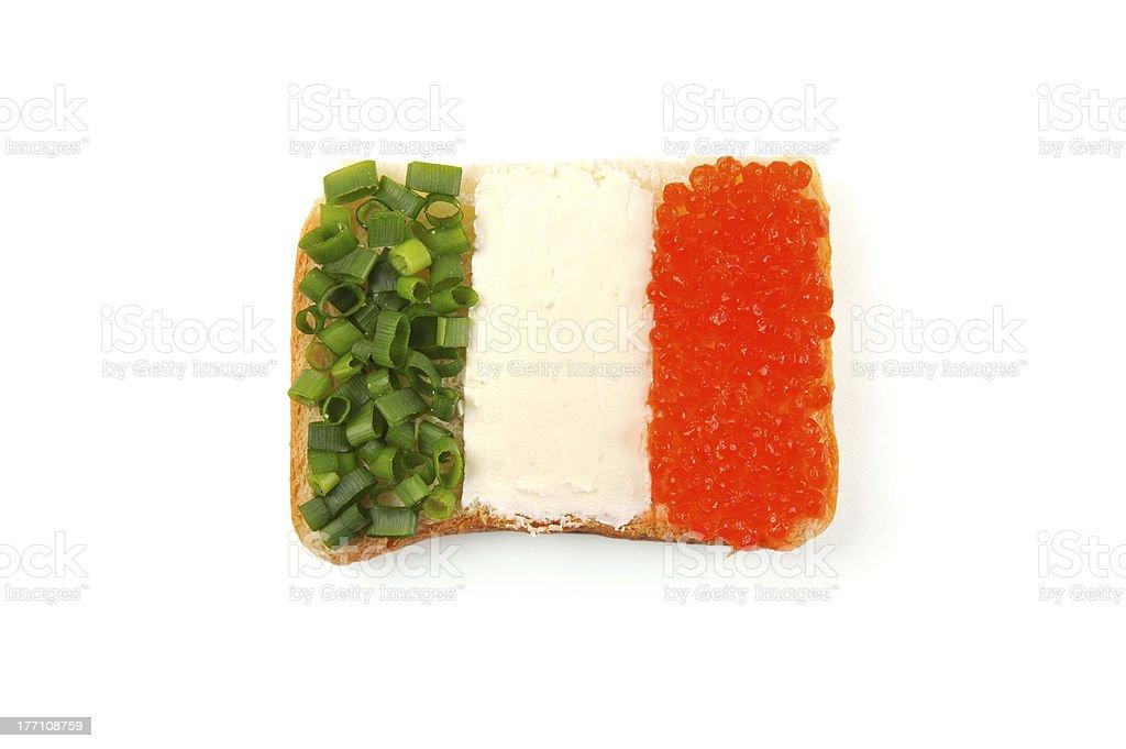 Open sandwich à la recherche comme l'Irlande drapeau photo libre de droits