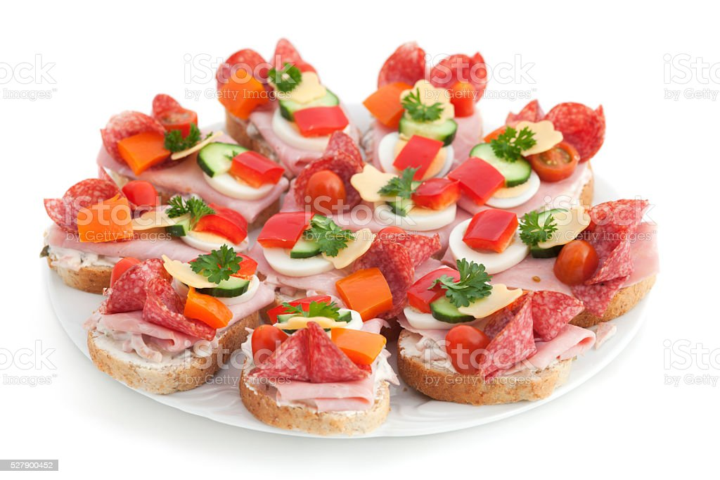 Open sandwich stock photo