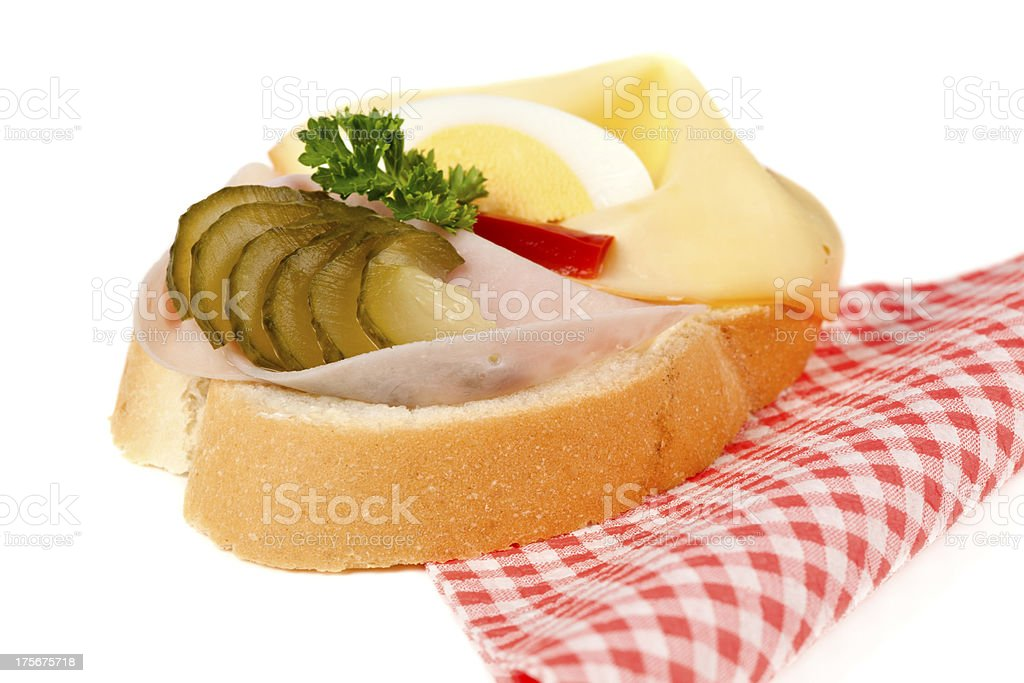 Open sandwich with ham and cheese royalty-free stock photo