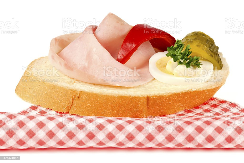 Open sandwich with ham and egg royalty-free stock photo