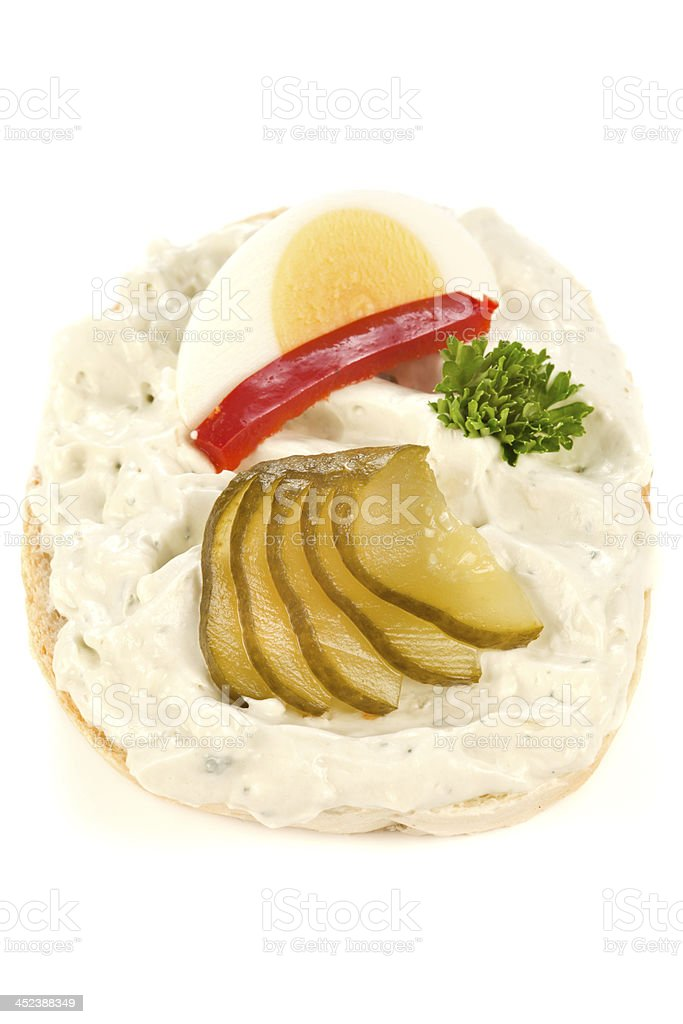 Open sandwich with niva cheese stock photo