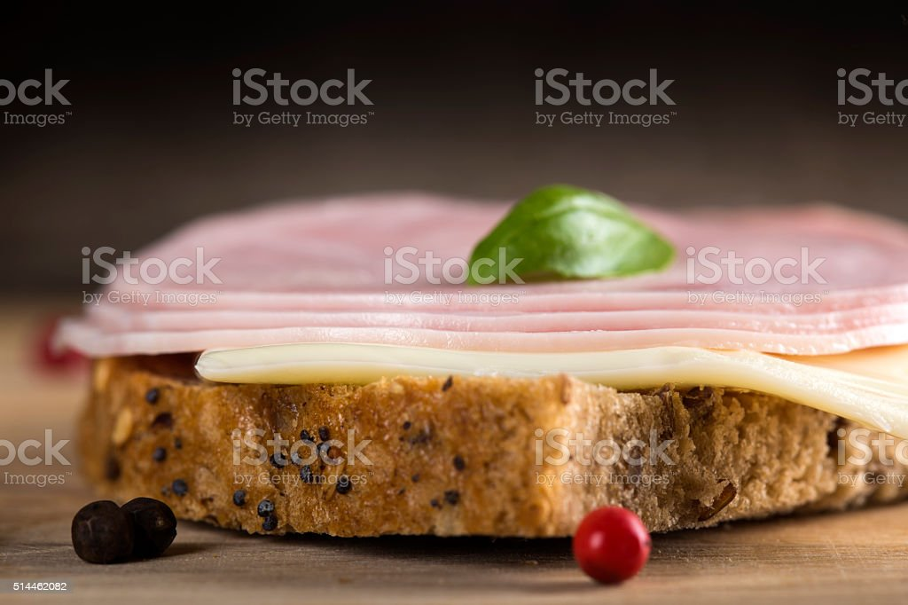 Open sandwich with salami stock photo