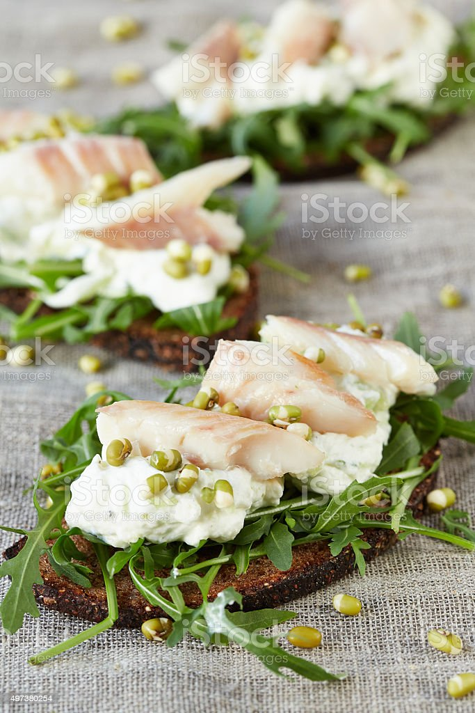 open sandwiches with cottage cheese and fish stock photo