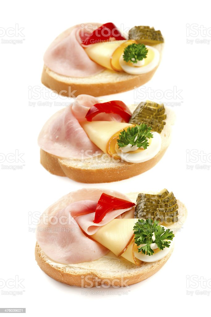 Open sandwiches with ham and egg royalty-free stock photo