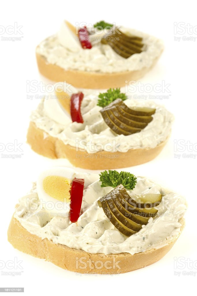 Open sandwiches with niva cheese royalty-free stock photo