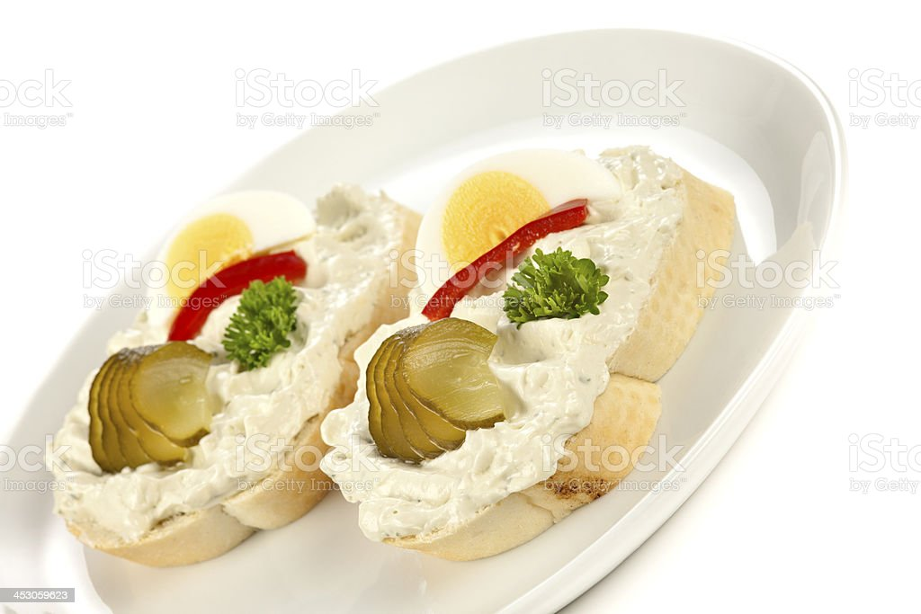 Open sandwiches with niva cheese stock photo