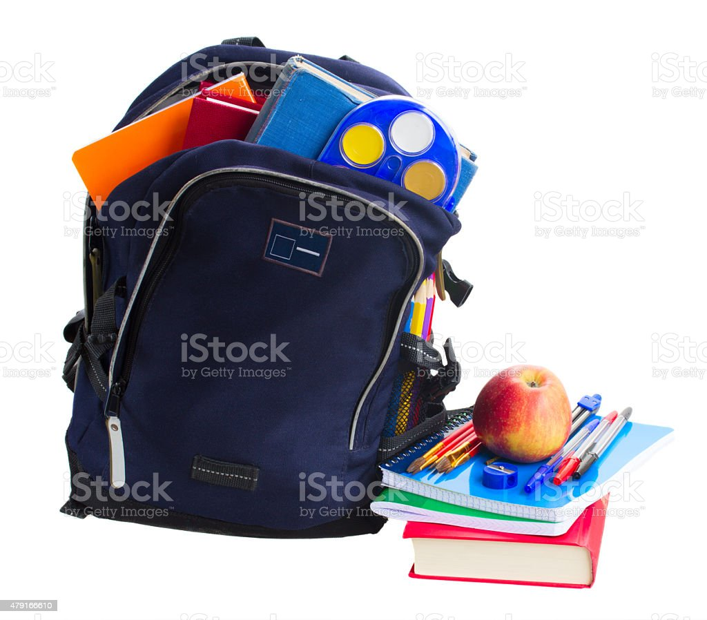open school backpack with stationery stock photo