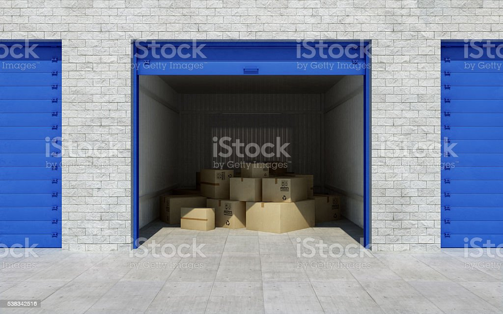 Open self storage unit full of cardboard boxes. 3d rendering stock photo