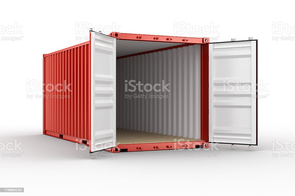 Open shipping container stock photo