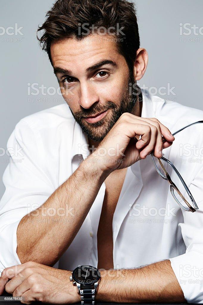 Open shirt guy stock photo
