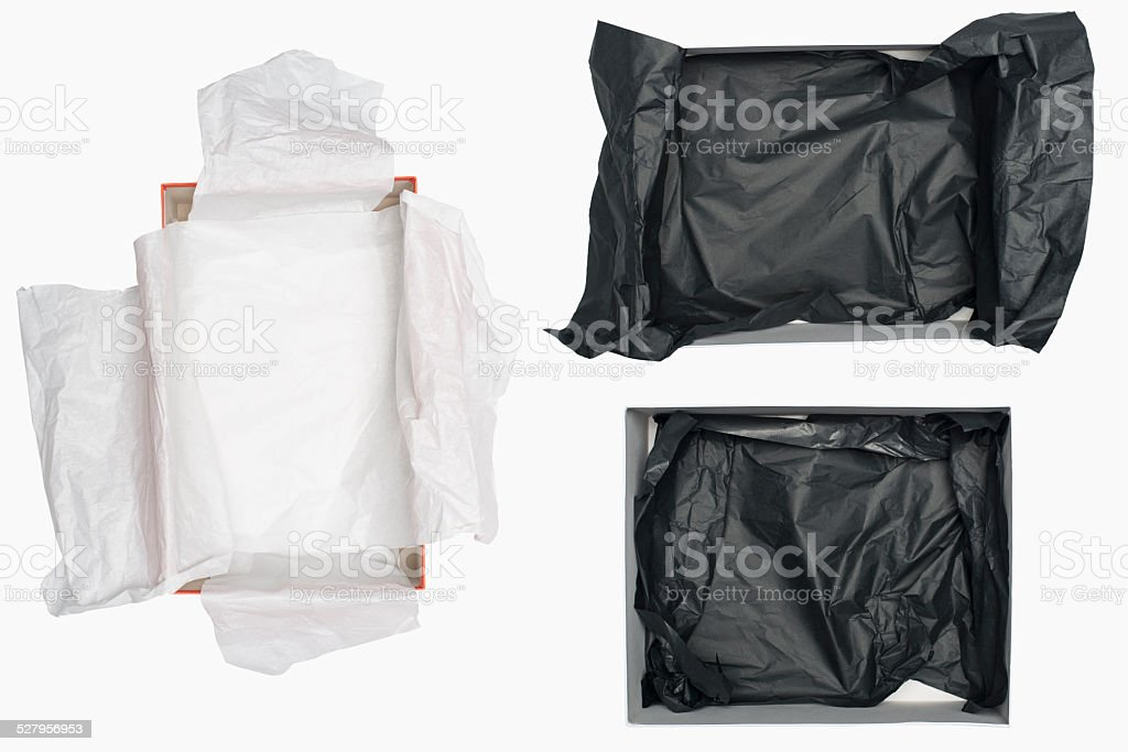 Open shoe box isolated on white stock photo