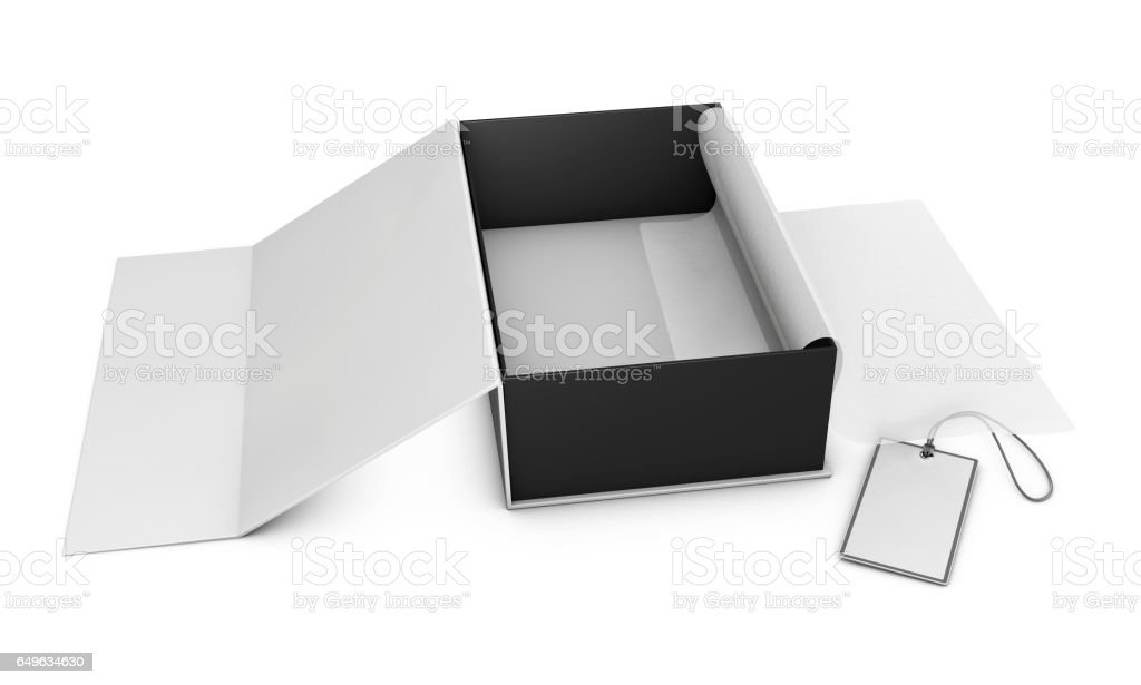 Open Shoes Box with label, 3d Illustration stock photo