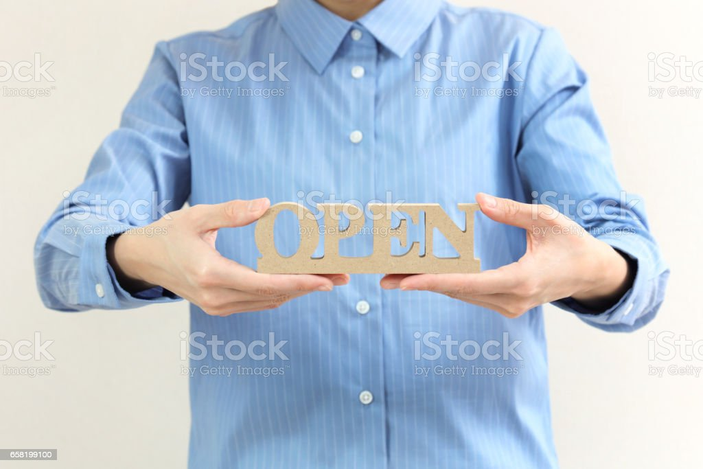 open shop sign stock photo