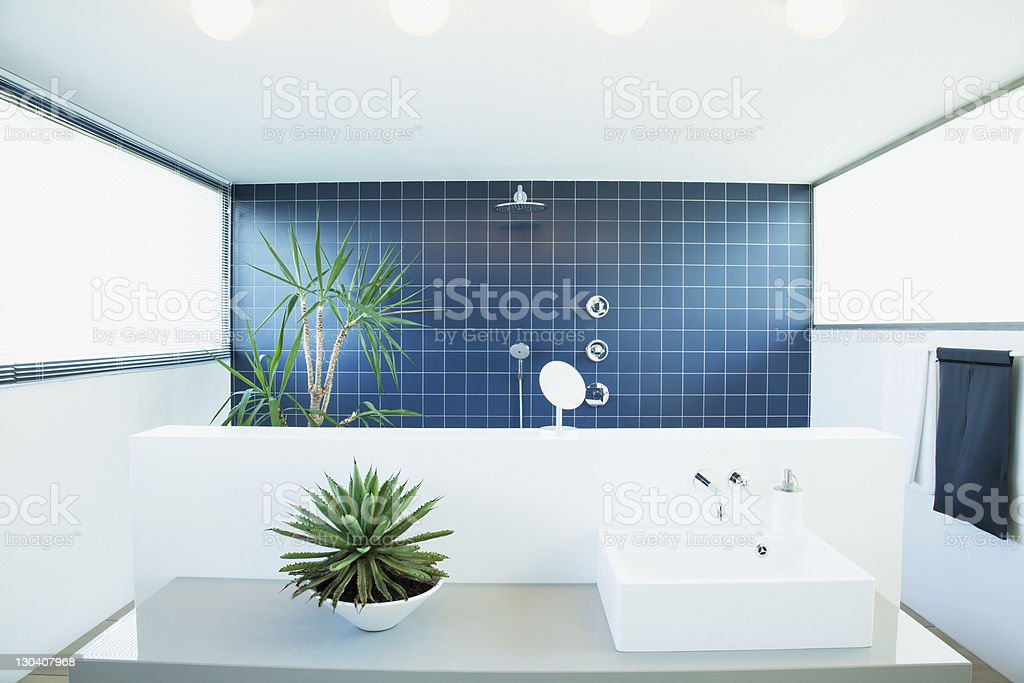 Open shower in modern bathroom royalty-free stock photo