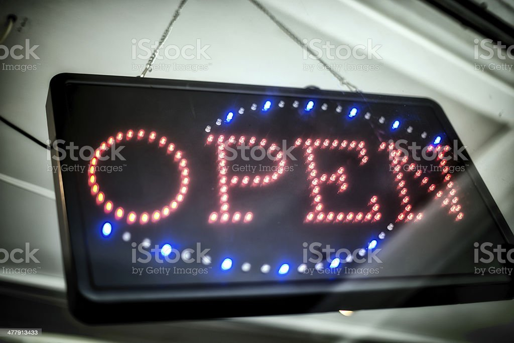 open sign behind window royalty-free stock photo