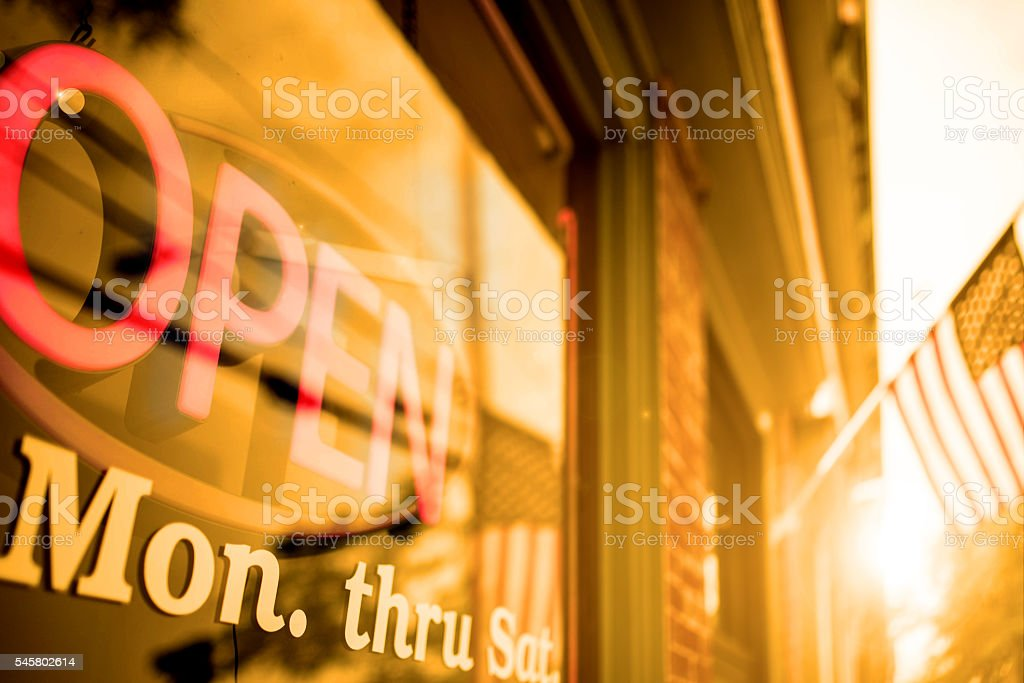 Open sign on a large window stock photo