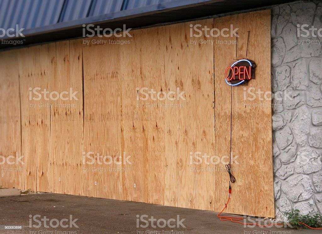 Open sign on Plywood royalty-free stock photo