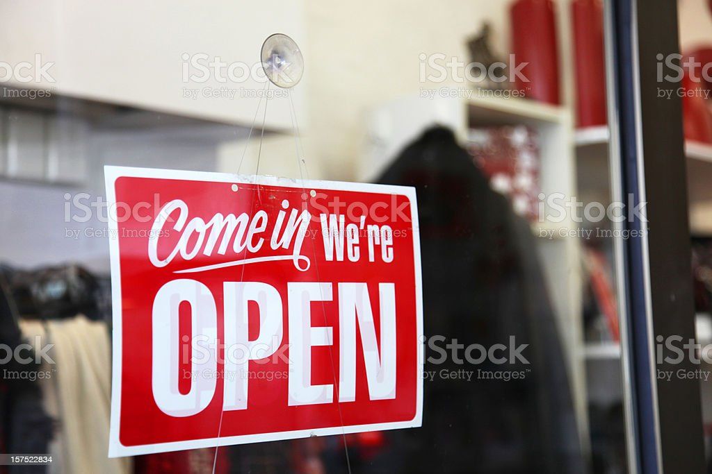 Open sign on shop window royalty-free stock photo