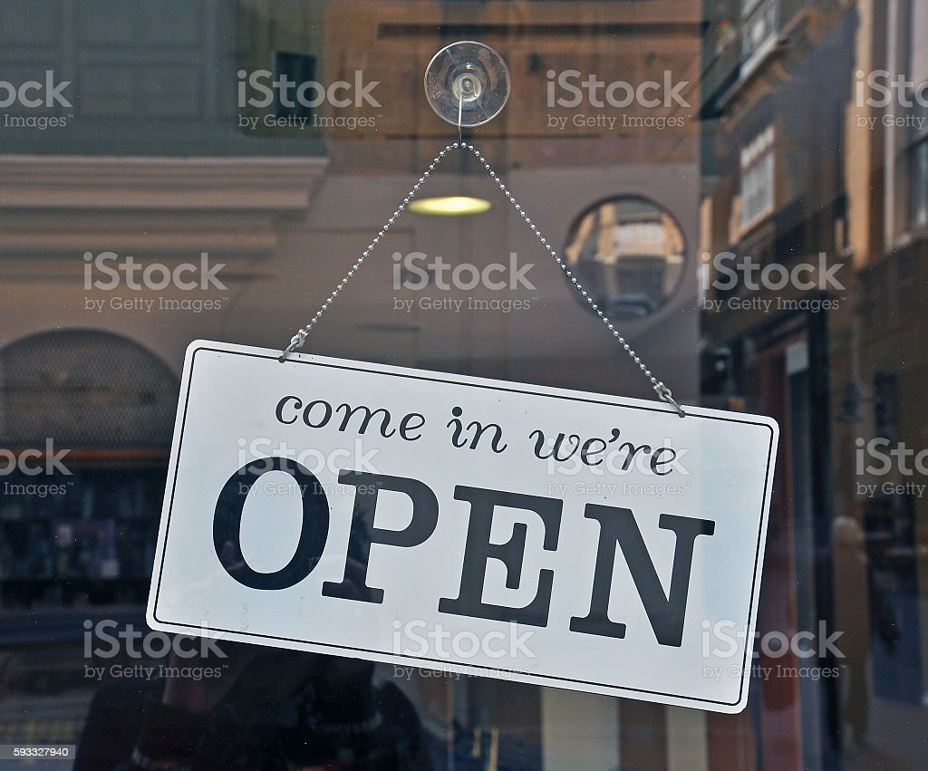 Open sign on the door stock photo
