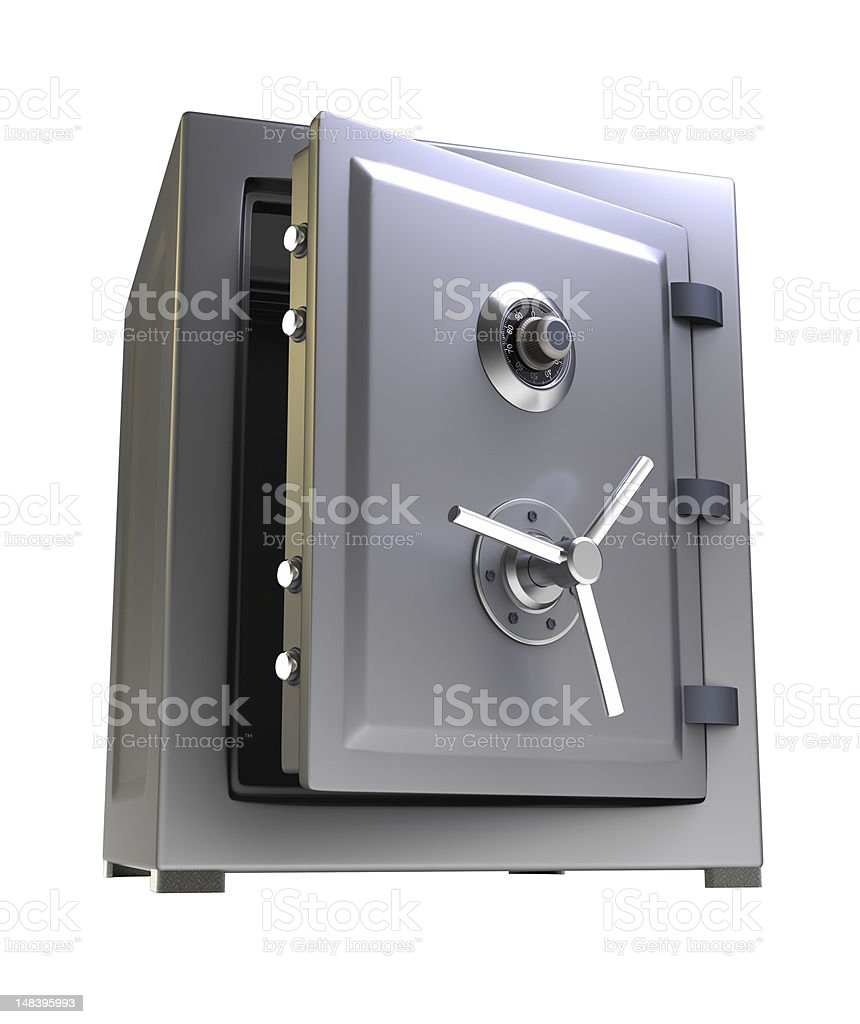 Open silver bank safe on white background royalty-free stock photo