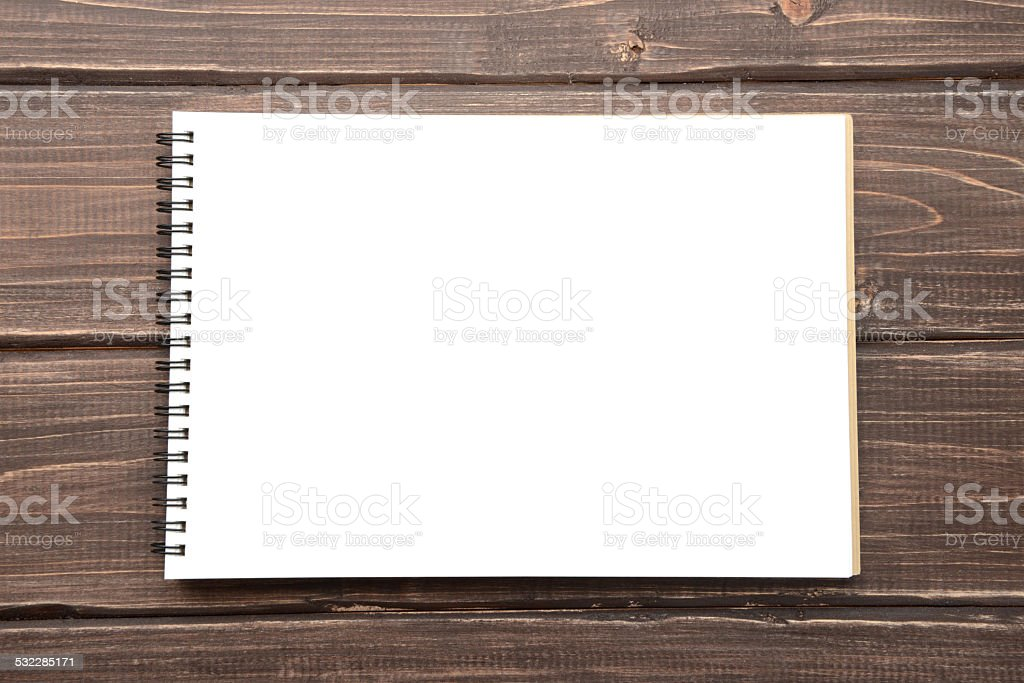 Open sketchbook stock photo